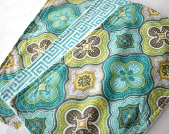 Moroccan Tile Burp Pads - Burp Cloths - Cotton and Soft Chenille - Baby, Shower Gift, Geometric, Teal, Gray, Lime, Yellow, Tan, Beige,Unisex