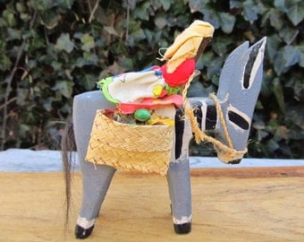 Vintage Folkart Wooden Donkey with Rider - Folk Art Wooden Donkey