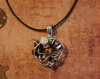 Steampunk Amber Wire Wrapped Pendant Necklace