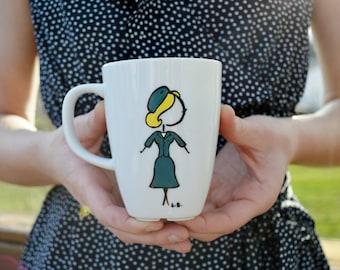 Hand Painted Mug, Dainty Lady, Stewardess