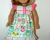 Butterfly Flutter Sleeve Dress for American Girl-Whimsical Pastel Owl Print with Coordinating Bodice and Trim-Fun Summer Doll Dress!