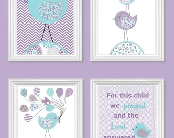 Bird Nursery Decor, Baby Girl Nursery, Nursery Wall Art, Girl Room Decor, Bird Art Prints, Set of 4 Prints, Baby Shower, Canvas Available