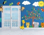 Wall Decals for KidsBedroom - Jungle Animal Wall Decal - Tree Decal- Complete  Repositionable Decal Set High Quality