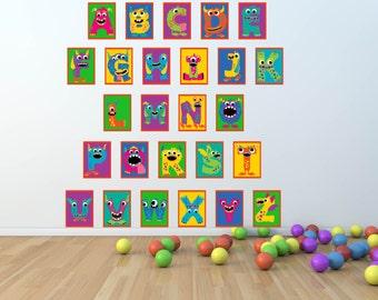 Alphabet Wall Decal-Kids Wall Decal-Alphabet Nursery Decal- Alphabet Prints Decal-Wall Decal- Kids Wall Decal- Monster Decal
