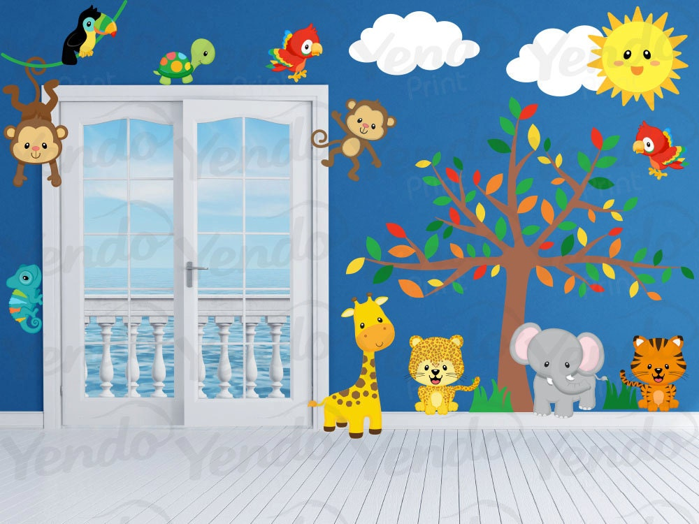 Kids Jungle Bedroom Wall Decals by YendoPrint