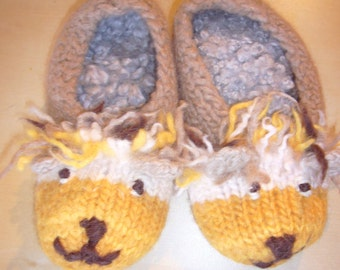 Felted Lion Slippers