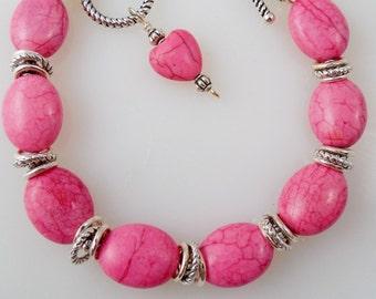Pink Magnesite Beaded Bracelet