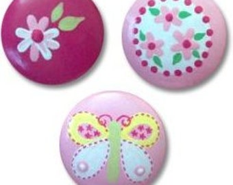 Hand Painted Spring Butterfly and Daisy Drawer Knobs Nursery Cabinet Pulls