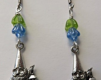 Gnome Earrings Garden Gnome Jewelry Blue Flower Garden Gnome