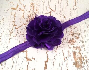 Purple Headband, Flower Headband, Baby Headband, Newborn Headband, Infant Headband, First Birthday, Flower Girl Headband