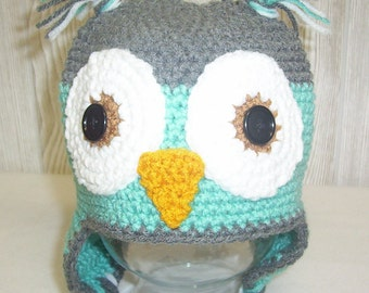Owl Baby Photo Prop Earflap Beanie Newborn Baby Hat Grey Aqua or Any Colors Crochet Baby Hat Pick Colors Made to Order