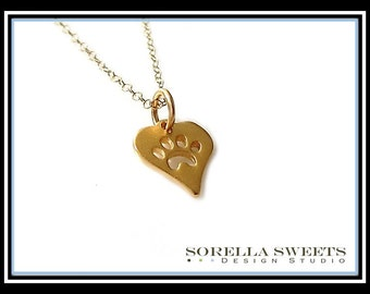 Paw Print Necklace, Gold Paw Print, Dog Necklace, Cat Necklace, Paw Print Heart Necklace, Pet Memorial Necklace, Animal Lovers