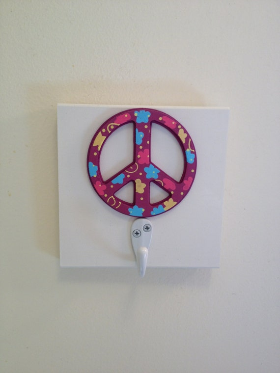 Peace Sign Bedroom Accessories: Items Similar To Purple Peace Sign Single Wall Hook Girls