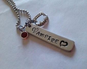 VAMPIRE  Necklace, hand stamped, vampires, Halloween jewlery