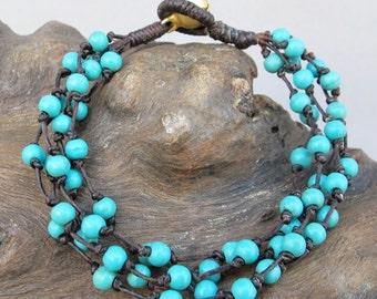 Mini Cluster Turquoise Beaded Bracelet