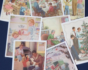Set of 8 Blank Notecards w/ Vintage Family / Home Scenes Prints