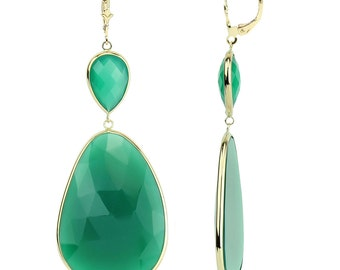 14K Solid Gold Gemstone Earrings With Green Onyx
