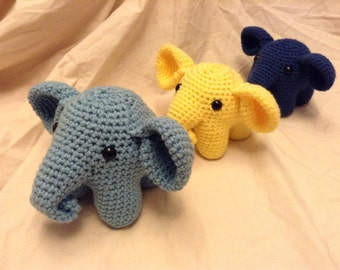 Crochet Cuddly Elephant -Other Colors Available (Made to Order)