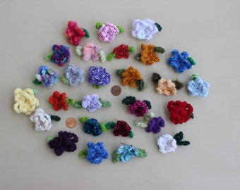 recycled, crocheted FLOWER PINS