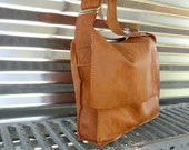 Cognac Leather Satchel, Made in the USA, Raw Leather Messenger Bag, Man Bag, Student Bag, cos play/ renaissance/  historical reenactment