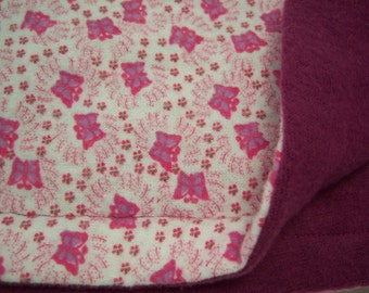 Flannel Baby Blanket - Baby Receiving Blanket - 32 x 34 - READY TO SHIP - Butterfly Flannel and Fleece Baby Blanket - Flannel Blankie