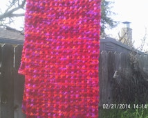 Hand Knitted Lap Blanket / Baby Blanket / Afghan With Baby Bonnet   Hot, Bright Colors