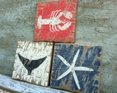 Rustic Distressed Crab, Lobster, Starfish Set of 3 Wood Nautical Beach Sign Set
