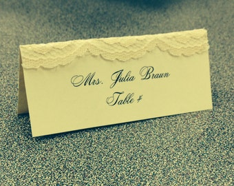 50 Wedding Lace Place Cards with Calligraphy