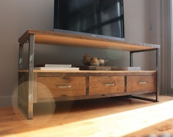 Reclaimed Wood Industrial Media Console / TV Stand / Entertainment Center