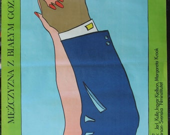 Poster. Swedish (1969s) film - A man with a white carnation. Film by Jarl Kulle. Polish (1978s) oryginal poster by Jacek Neugebauer.