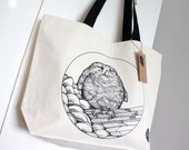 SALE Baby Owl Printed Natural Canvas Tote Shopper Bag