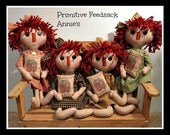 Handmade Primitive Raggedy with Feedsack Pillow FAAP  Layaway Available!