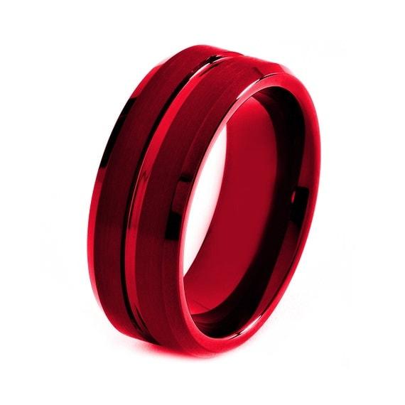 Items Similar To Black Tungsten Ring, Red Men Tungsten
