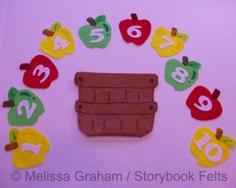 SHOP CLOSING SALE - Educational Felt Apples In A Basket Counting Learning Game 10 Apples With Numbers And Basket