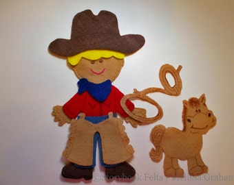 SHOP CLOSING SALE - Felt Boy Doll Outfit Cowboy Felt Doll Dress Up Set With Out Doll