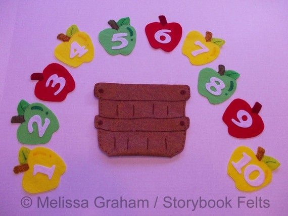 Felt Apples In A Basket Counting Learning Game 10 Apples With Numbers And Basket