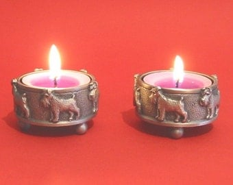 A Pair Of Miniature Schnauzer Pewter Tea Light Holders Mother Father Miniature Schnauzer Gift