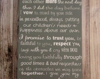 "Custom Wedding Vows Wood Sign 12"" x 24"" Personalized Wedding Vows Personalized Wedding Anniversary Gift"