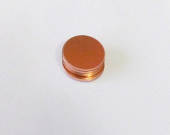 5/8  COPPER Circle blanks -pkg 5 - 22 gauge - Hand stamping  metal blanks - enameling copper blanks