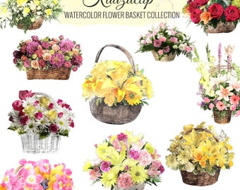Watercolor Floral Basket Collection- Commercial and Personal Use