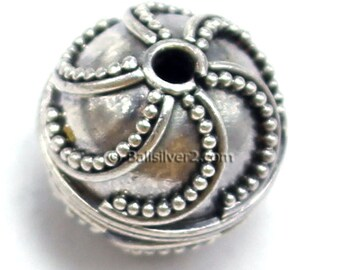 Bali Beads Sterling Silver Round  11 x 11 mm Beads. # 1410-11mm Ornate Bali Silver Beads