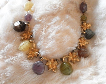 very vintage 1950s handmade chunky gemstone beaded necklace collectors item