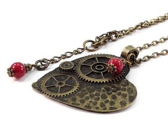 Bronze Steampunk Heart Necklace Antique Brass Chain
