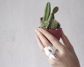 June , White Rabbit Ring , Animal ring, Statement ring.