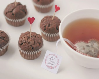 Lovely tea bags for Valentines Day - Heart Shaped (10) - Romantic - Cute -