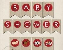 Instant Download - Farm Baby Shower Banner // Farm Printables // Baby Shower // Farm Banner // DIY Printables