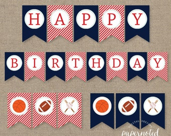 Instant Download - Sports Birthday Banner // Sports Birthday Printables // Boy Birthday // Birthday Banner // DIY Printables