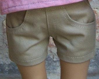 Khaki Twill Jean Shorts for 18 inch dolls