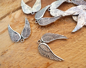 Angel Wings Pendant_Antique Silver Double  Angel Wings Charm Pendant_of: 19x20mm_Pack 30 pcs