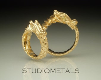 Gold Dragon Rings Ouroboros Wedding Bands 18K